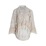 TWOTWINSTYLE-Camisa-Patchwork-de-Renda-Para-As-Mulheres-Lapela-Colarinho-Alargamento-Manga-Bowknot-Lace-Up-Longa