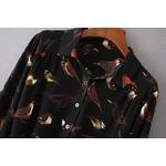 VOGUE-N-nouveau-femmes-dames-noir-mode-oiseau-imprimer-revers-manches-longues-Mini-chemise-robe-en