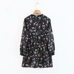 Femmes-vintage-o-cou-mignon-animal-imprim-d-contract-mini-robe-dames-taille-lastique-volants-chic