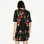 Vintage-Floral-fleur-Brid-broderie-droite-l-che-Mini-robe-o-cou-manches-courtes-femmes-marque