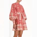 LIVIVIO-Vintage-imprim-Floral-lanterne-manches-longues-ceinture-lacets-taille-boutonn-e-rouge-Mini-robes