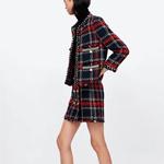 Manteau-de-veste-en-Tweed-carreaux-Vintage-pour-femmes-Mini-jupe-2-pi-ces-ensemble-de