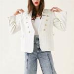 Femmes-doux-V-Cou-tweed-blanc-blazer-Double-boutonnage-poches-gland-ourlet-femelle-l-che-veste