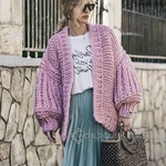 Chic-Autumn-Hand-Knit-Sweater-Coarse-Wool-V-Neck-Lazy-Rough-Wool-Lantern-Sleeved-Cardigan-Batwing