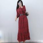 Femmes-l-opard-imprim-longue-robe-O-cou-manches-longues-taille-haute-une-ligne-l-gante