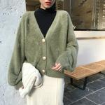 Femmes-automne-hiver-vison-velours-blanc-chandail-manteau-manches-longues-tricot-Cardigan-col-en-v-d