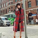 Nouveaut-femmes-rouge-Plaid-m-lange-laine-manteau-d-contract-simple-bouton-pais-chaud-avec-poche