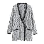 Femmes-grande-taille-tricots-Cardigans-col-en-V-Patchwork-chandail-point-ouvert-manteau-poche-Double-boutonnage