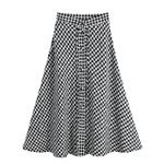 Mode-automne-hiver-laine-Plaid-longues-jupes-taille-haute-a-ligne-bureau-dame-Midi-Patchwork-jupe