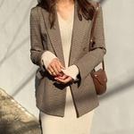 Vintage-Double-boutonnage-bureau-dames-Plaid-Blazer-manches-longues-l-che-pied-de-poule-costume-manteau
