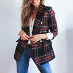 Mossha-l-gant-tweed-carreaux-blazer-femme-d-contract-bouton-blazer-Automne-hiver-veste-Vintage-manches
