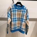 Chandail-tricot-carreaux-pour-femmes-l-che-manches-longues-col-rond-Pull-hauts-2019-automne-et