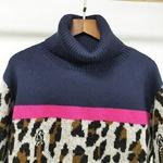 Deuxtwinstyle-Hit-couleur-l-opard-chandails-pour-femme-col-roul-manches-longues-tricot-grande-taille-femmes