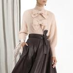 Deuxtwinstyle-l-gant-Bow-femmes-chandail-col-roul-lanterne-manches-solide-pulls-pulls-femme-2019-mode