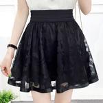 Nouveau-mode-femmes-filles-Style-Preppy-dentelle-taille-haute-d-t-printemps-gaze-noir-A-ligne