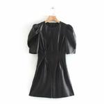 Withered-autumn-leather-dress-women-high-street-vintage-puff-sleeve-o-neck-vestidos-de-fiesta-de