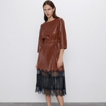 RR-PU-cuir-pliss-robes-femmes-mode-dentelle-Patchwork-robe-femmes-l-gant-trois-quarts-mi