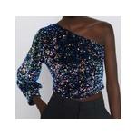 2020-Women-Sequins-Decoration-Asymmetry-Single-shoulder-Shirts-Female-Nine-Quarter-Sleeve-Roupas-Leisure-Blouse-Chic