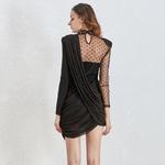 Deuxtwinstyle-Vintage-asym-trique-Dot-maille-robes-femme-col-montant-bouff-e-manches-longues-taille-haute