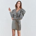 Deuxtwinstyle-Patchwork-paillettes-femmes-robe-col-en-V-bouff-e-manches-longues-taille-haute-crayon-robes
