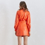Deuxtwinstyle-PU-cuir-deux-pi-ces-ensemble-pour-les-femmes-revers-col-veste-taille-haute-volants