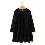 Texture-motif-robes-noires-d-contract-robe-ample-l-gant-manches-longues-Mini-robes-femmes-dames