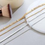 2018-Or-en-m-tal-de-Couleur-Deux-Couche-Choker-Colliers-Fishbone-Cha-ne-simple-bijoux