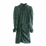 Printemps-et-automne-femme-fleur-imprim-robe-d-contract-manches-longues-col-haut-robe-design-plis