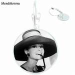 Pour-filles-cadeau-Audrey-Hepburn-verre-cristal-Bronze-argent-dor-Clip-oreille-crochet-boucles-d-oreille