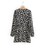 Women-vintage-v-neck-flower-print-mini-Dress-ladies-retro-puff-sleeve-pleats-buckle-vestidos-chic