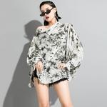 EAM-femmes-blanc-motif-imprim-grande-taille-T-shirt-nouveau-col-asym-trique-manches-longues