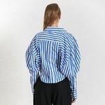 Deuxtwinstyle-cor-en-ray-femmes-chemise-revers-col-manches-bouffantes-ample-asym-trique-Blouses-d-contract