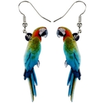 Bonsny-Acrylic-Colorful-Resting-Macaws-Parrot-Bird-Earrings-Big-Long-Dangle-Drop-Tropic-Animal-Jewelry-For