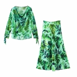 Withered-summer-england-high-street-tropical-print-chiffon-loose-blouse-women-high-waist-midi-skirt-women