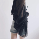 TWOTWINSTYLE-Bowknot-Chemisier-En-Mousseline-Shirt-Femmes-Lanterne-Manches-Tulle-Transparent-Sexy-Tops-Grande-Taille-2018