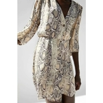 Fl-tri-robes-f-minin-robe-angleterre-style-unique-poitrine-impression-Serpent-peau-puff-manches-col