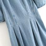 Aachoae-t-Patchwork-Denim-robe-femmes-bouff-e-manches-courtes-mode-robe-pliss-e-col-rabattu
