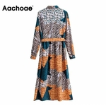 Aachoae-Streetwear-robe-l-opard-ourlet-fendu-Chic-robe-Midi-manches-longues-ceintures-dame-chemise-robe