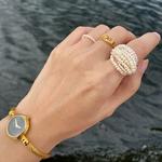 HUANZHI-2020-Retro-Multilayer-Natural-Freshwater-Pearl-Rings-Metal-Geometric-Bead-Ring-for-Women-Girls-Party