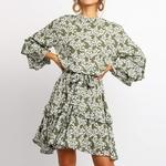 Robe-volants-imprim-Floral-montant-manches-ceintures-pour-femmes-en-mousseline-de-soie-style-Boho-Mini