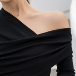 TWOTWINSTYLE-t-shirt-manches-longues-asym-trique-pour-femme-haut-noir-Slim-Sexy-paules-d-nud