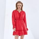 TWOTWINSTYLE-robe-l-gante-de-couleur-unie-pour-femmes-col-en-V-manches-longues-taille-haute
