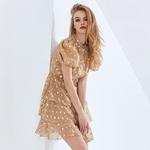 TWOTWINSTYLE-robe-imprim-e-pois-pour-femmes-tenue-d-t-volants-col-rond-manches-bouffantes-taille