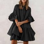 Celmia-Mini-robe-volants-pour-femmes-Sexy-col-rond-demi-manches-chemise-ample-pliss-e-couleur