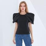 TWOTWINSTYLE-t-shirt-manches-courtes-bouffantes-et-col-rond-pour-femme-haut-Slim-et-Chic-fronc