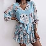 Printemps-femmes-mousseline-de-soie-col-V-imprim-fleur-robe-d-contract-manches-longues-robe-courte