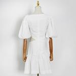 VGH-Mini-robes-jaunes-pour-femmes-col-inclin-demi-manches-taille-haute-ajour-nouvelle-mode-d