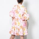 TWOTWINSTYLE-l-gant-Mini-Robe-Imprim-e-Pour-Femme-Col-Montant-Manches-Bouffantes-Robes-Taille-Haute
