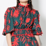 TWOTWINSTYLE-Imprim-Vintage-Robe-D-t-Pour-Femme-Col-Montant-Manches-Longues-Taille-Haute-Mini-Rouge