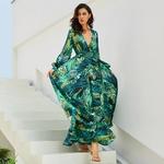 Vintage-manches-longues-robe-vert-Tropical-plage-Vintage-Maxi-robes-Boho-d-contract-col-en-V